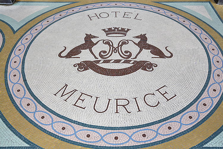 Hotel Meurice logo made of mosaic tiles