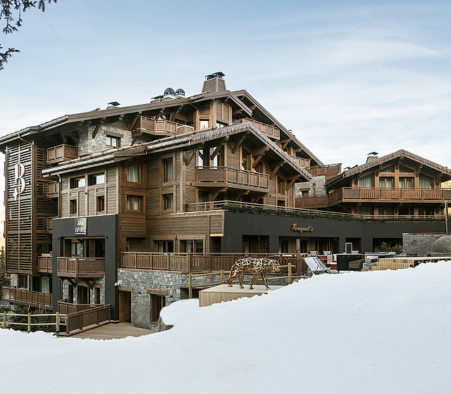 Outside view of luxury hotel Les Neiges in Courchevel