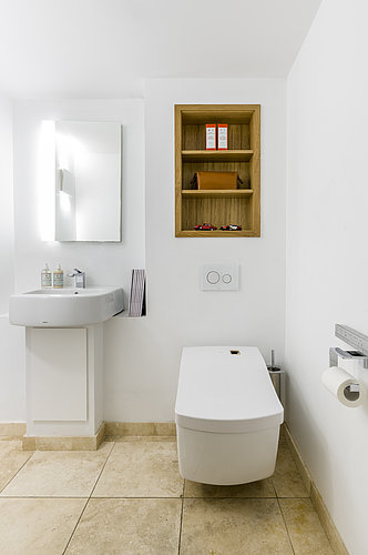 WASHLET™ with washbasin and wooden shelf