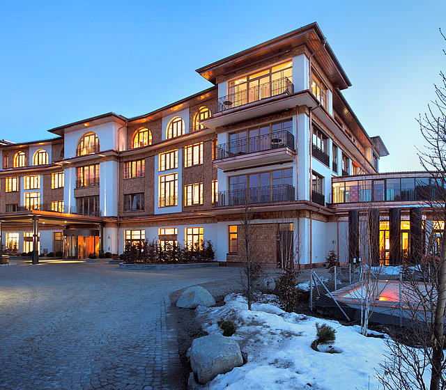 Outdoor winter view of Hotel Schloss Elmau in the Bavarian Alps