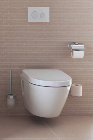 Wall-hung rimless toilet including accessories on an intricately tiled wall